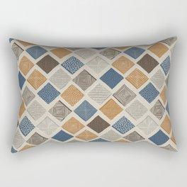 Tuscan Tiles Dark Orange and Gray Rectangular Pillow