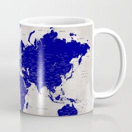 "Navy blue and grey detailed world map, ""Delaney"" Coffee Mug"