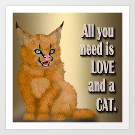 Digital painting - Caracal cat Art Print