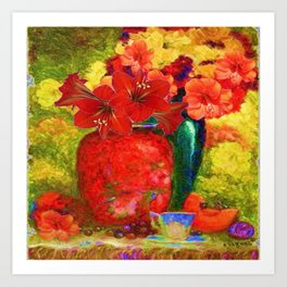 RED AMARYLLIS RED-GREEN VASE STILL LIFE Art Print