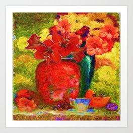 RED AMARYLLIS RED-GREEN VASE STILL LIFE Art Print