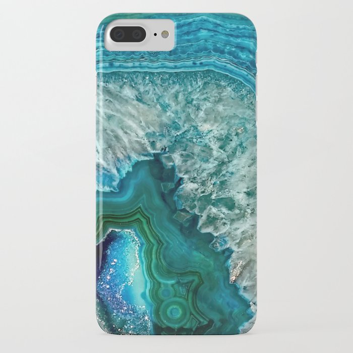 aqua turquoise agate mineral gem stone - beautiful backdrop iphone case