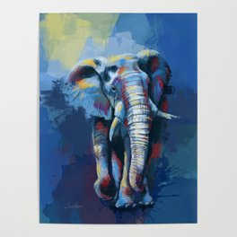 Elephant Dream - Colorful wild animal digital painting Poster