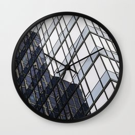 blue glass and steel abstract urban design Wall Clock
