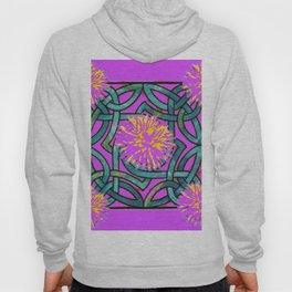 Purple & Aqua Fuchsia Floral Abstract  Art Nouveau Hoody