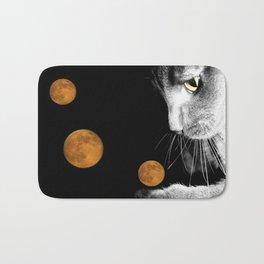 Silver Cat and Moon Bath Mat