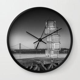 Central Tejo, Lisbon, Portugal (Black & White) Wall Clock
