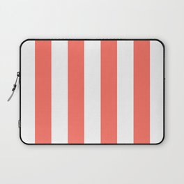 Large Living Coral and White Vertical Cabana Tent Stripes Laptop Sleeve