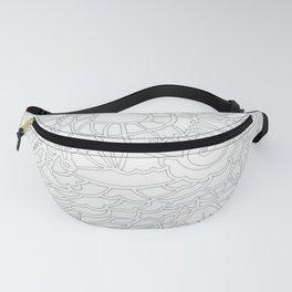Fractal Heart Design in Black and White Fanny Pack