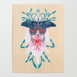 Butterfly White Orchid Tattoo on wood Poster