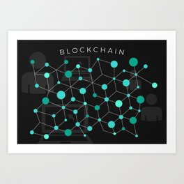 Cool Bitcoin crypto currency block chain Art Print