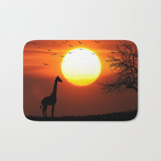 Giraffe sundown Bath Mat