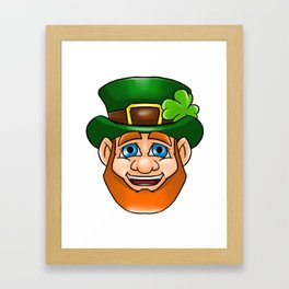 Leprechaun Smiling Face Irish St Patty_s Day Framed Art Print