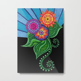 Sunburst Flowers Metal Print