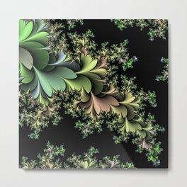 Kale Leaves Fractal Metal Print