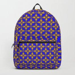 Gold Flower Pattern on Navy Backpack