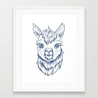 alpaca Framed Art Prints featuring Alpaca by Jess Moore