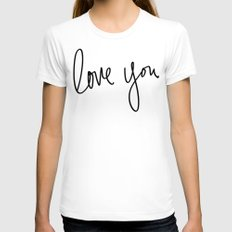 Love You x Orange Floral White Womens Fitted Tee MEDIUM