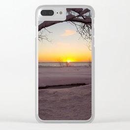Winter Beach Sunset Clear iPhone Case