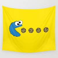 pacman Wall Tapestries featuring Cookie monster Pacman by dutyfreak
