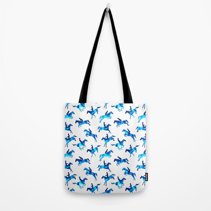 Watercolor Showjumping Horses (Blue) Tote Bag