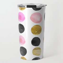 Chic Painted Circle Pattern - Black, Gold, Pink Travel Mug