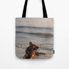 German Shepherd in the Surf Palolem Tote Bag