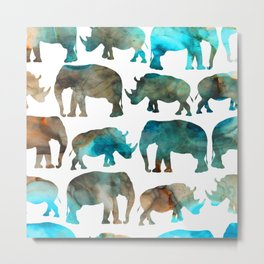 watercolor Rhino Elephant Metal Print
