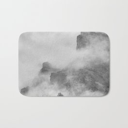 """""""The mountains are calling to me"""". BW. Square Bath Mat"""