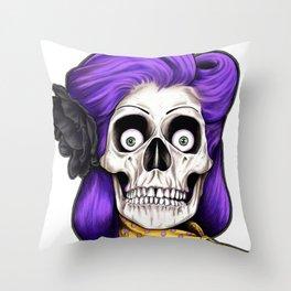 Rockabilly Skull Throw Pillow