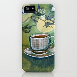Green Tea with Moths and Moon iPhone Case