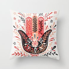 Hamsa Hand – Red & Black Palette Throw Pillow