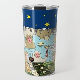 Snow Monkeys in Hot Spa Travel Mug