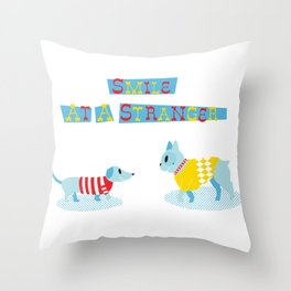 Smile at a Stranger Throw Pillow
