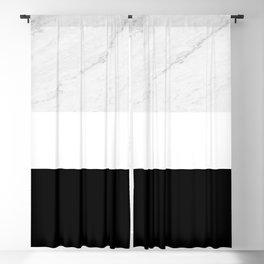 Marble Black White Blackout Curtain