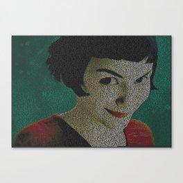 Text Portrait of Amelie Poulain with full French script of the movie Le Fabuleux Destin d'Amélie Canvas Print