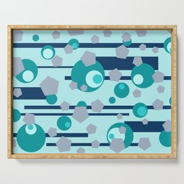 Geometric turquoise grey mix Serving Tray
