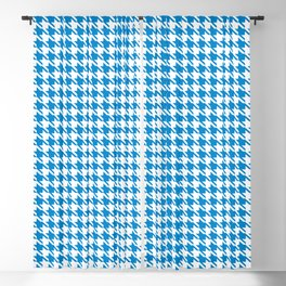 PreppyPatterns™ - Modern Houndstooth - Azure Blue and White Blackout Curtain