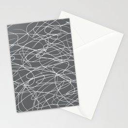 Hand Drawn Scribbles (Charcoal Grey) Stationery Cards
