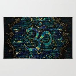 Namaste Word Art in Lotus with OM symbol Rug