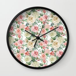 White and Pink Roses Pattern Wall Clock