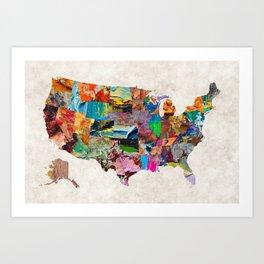 USA Map Art Print