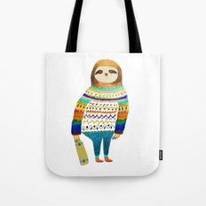 Hipster sloth skateboarder Tote Bag