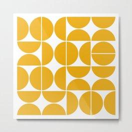 Mid Century Modern Geometric 04 Yellow Metal Print