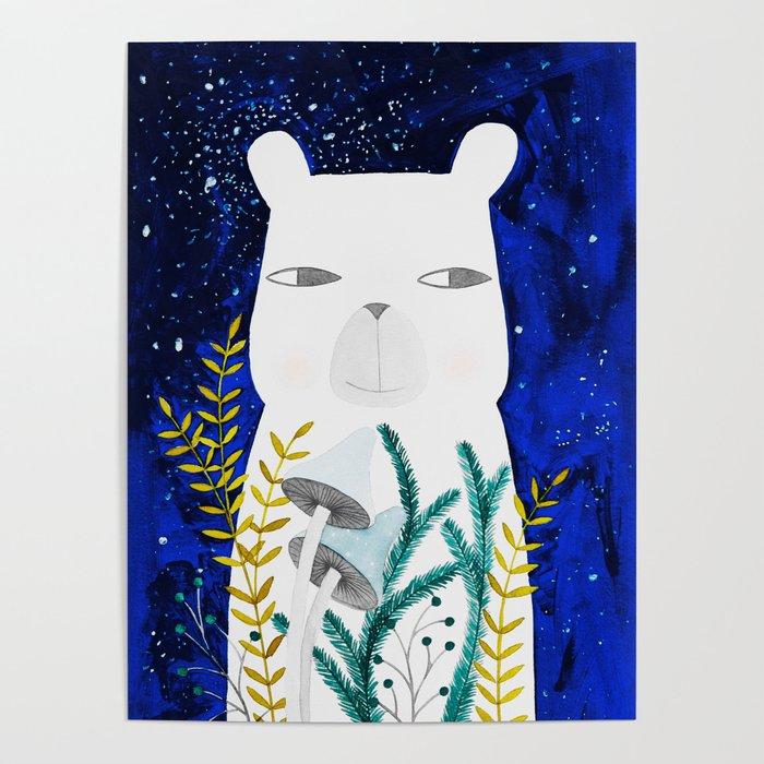 polar bear with botanical illustration in blue Poster