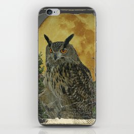 SHABBY CHIC ANTIQUE NIGHT OWL  FULL MOON iPhone Skin