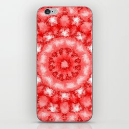 Kaleidoscope Fuzzy Red and White Circular Pattern iPhone Skin