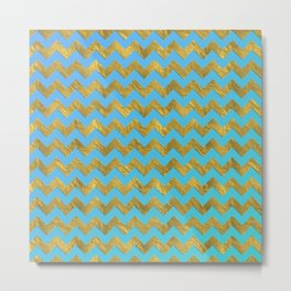 Gold glitter chevron on turquoise backround- pattern Metal Print