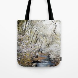 A Creek on a Snowy Day in Boulder, Colorado Tote Bag