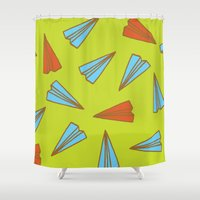 planes Shower Curtains featuring Paper Planes by evannave